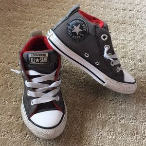 Converse Gray and Red High Tops - Size 13